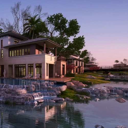 3d-rendering-beautiful-contemporary-house-near-resort-and-river-at-sunset.jpg